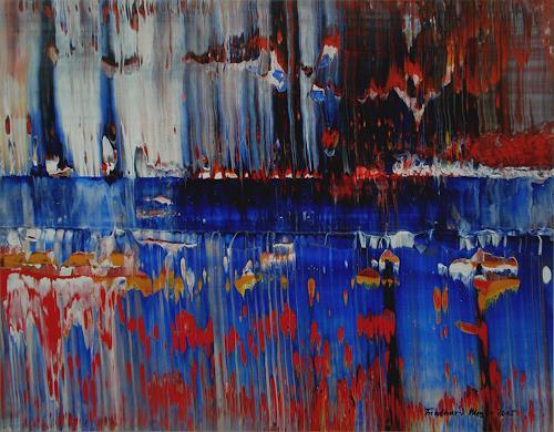 Friedhard Meyer, Dominantes ultramarin, Abstraktes, Fantasie, Gegenwartskunst, Abstrakter Expressionismus