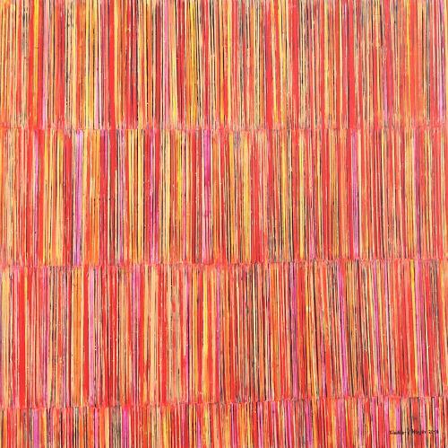Friedhard Meyer, Farbzone Rot 3, Abstraktes, Dekoratives, Gegenwartskunst