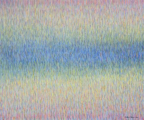Friedhard Meyer, Zentrales Blau, Dekoratives, Abstraktes, Gegenwartskunst