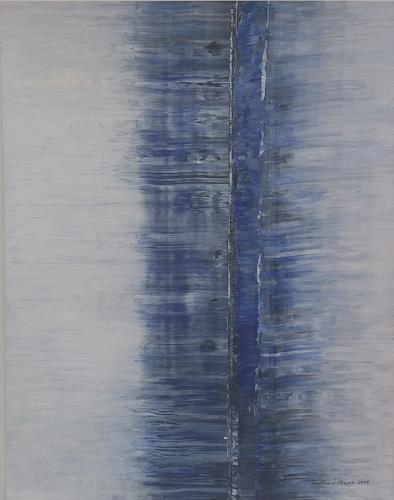 Friedhard Meyer, Zentrales Blau, Abstraktes, Fantasie, Gegenwartskunst