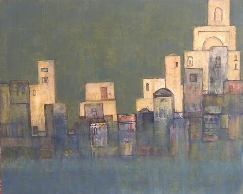 Friedhard Meyer, Stadtlandschaft 3, Diverse Bauten, Fantasie, Gegenwartskunst