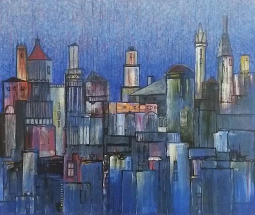 Friedhard Meyer, Stadtlandschaft 6, Diverse Bauten, Fantasie, Gegenwartskunst