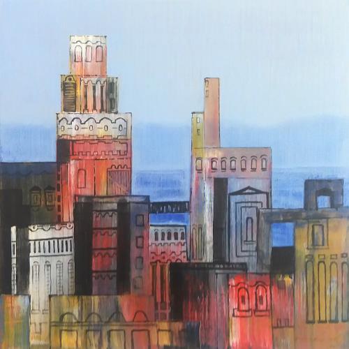 Friedhard Meyer, Stadtlandschaft 8, Diverse Bauten, Fantasie, Gegenwartskunst