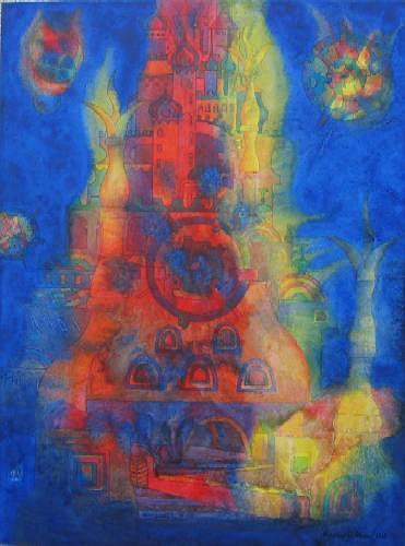 Friedhard Meyer, Babel 12, Fantasie, Diverse Bauten, Gegenwartskunst