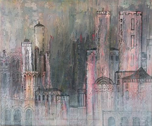 Friedhard Meyer, Stadtlandschaft 16, Fantasie, Diverse Bauten, Gegenwartskunst