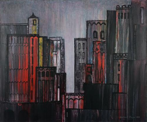 Friedhard Meyer, Stadtlandschaft 17, Fantasie, Diverse Bauten, Gegenwartskunst