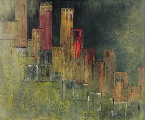 Friedhard Meyer, Stadtlandschaft 22, Fantasie, Diverse Bauten, Gegenwartskunst