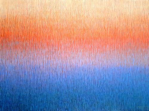 Friedhard Meyer, Orange über Blau, Abstraktes, Fantasie, Gegenwartskunst
