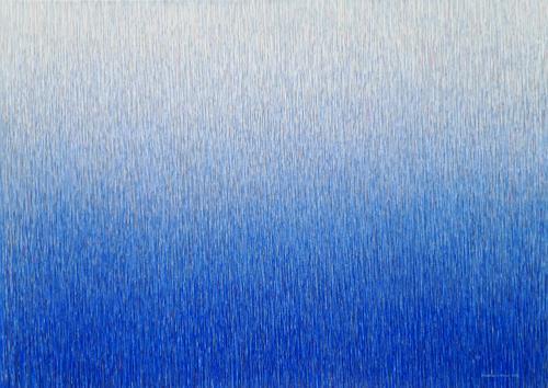 Friedhard Meyer, Farbzone Ultramarin 8, Abstraktes, Fantasie, Gegenwartskunst