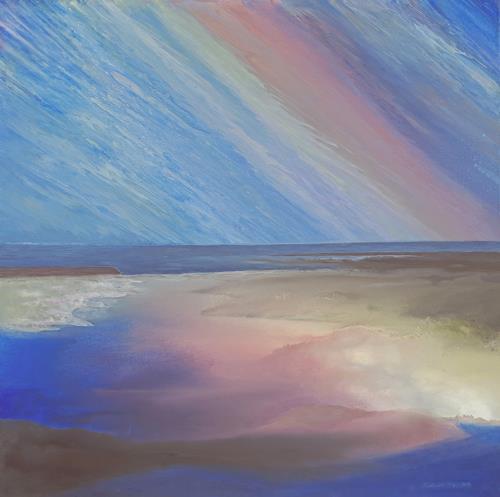 Friedhard Meyer, Hiddensee-Meerblick, Landschaft: See/Meer, Diverse Landschaften, Gegenwartskunst, Expressionismus