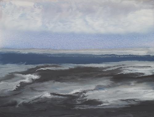 Friedhard Meyer, Hiddensee-Bodden 2, Landschaft: See/Meer, Diverse Landschaften, Gegenwartskunst, Expressionismus