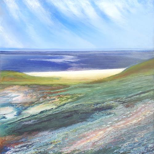 Friedhard Meyer, Hiddensee-Strand, Landschaft: See/Meer, Landschaft: Strand, Gegenwartskunst, Expressionismus