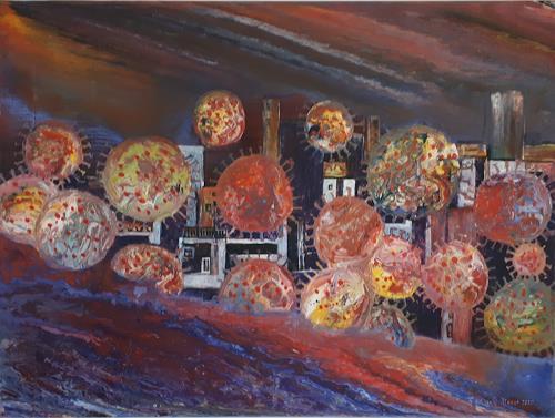 Friedhard Meyer, Corona 3 - Flug der Viren, Fantasie, Diverse Landschaften, Gegenwartskunst