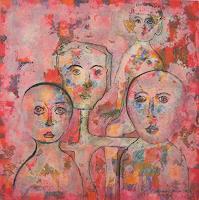 Friedhard-Meyer-Menschen-Gesichter-Menschen-Gruppe-Gegenwartskunst--Gegenwartskunst-
