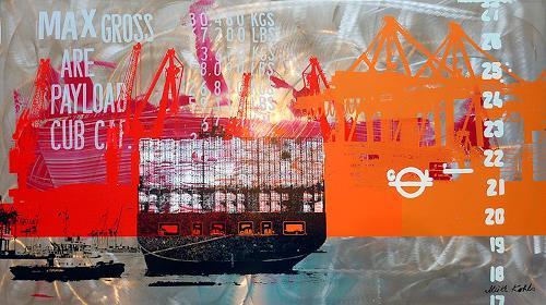Meike Kohls, Containerterminal, Verkehr: Schiff, Landschaft: See/Meer, Pop-Art, Abstrakter Expressionismus