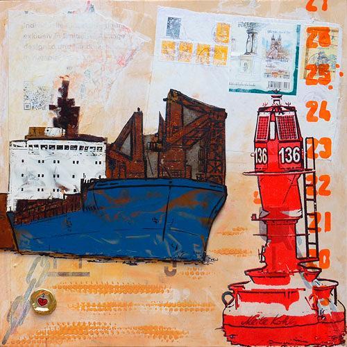 Meike Kohls, Frachter - Freighter, Landschaft: See/Meer, Verkehr, Pop-Art, Abstrakter Expressionismus