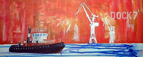 Meike Kohls, Dock 7, Arbeitswelt, Landschaft: See/Meer, Pop-Art