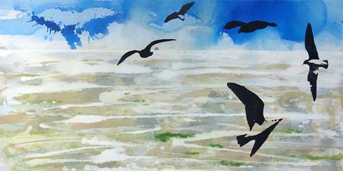 Meike Kohls, Möwen im Watt, Landschaft: See/Meer, Natur: Luft, Pop-Art