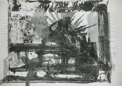 Gautam, Collage auf Zeitungsblatt, Menschen: Frau, Fantasie, Neo-Realismus
