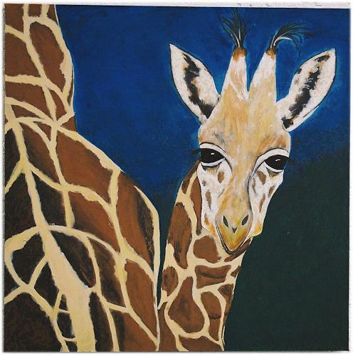 Marion Harrichhausen-Lukas, Giraffen bei Nacht, Tiere: Land, Gefühle: Geborgenheit, Gegenwartskunst