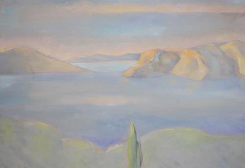Christophorus Hardenbicker, Fourni II. 2014, Landschaft: See/Meer, Impressionismus