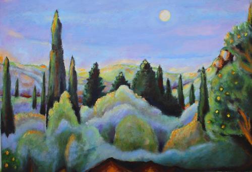 Christophorus Hardenbicker, Samos hinterm Haus Nov 2013, Landschaft: Hügel, Impressionismus