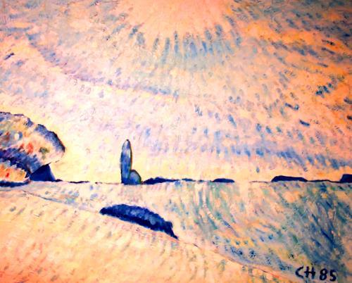 Christophorus Hardenbicker, Frühmorgens 1985, Landschaft: Frühling, Impressionismus