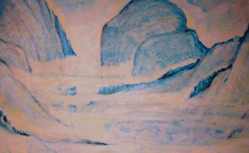 Christophorus Hardenbicker, Östl.Berge 1987, Landschaft: Berge, Impressionismus