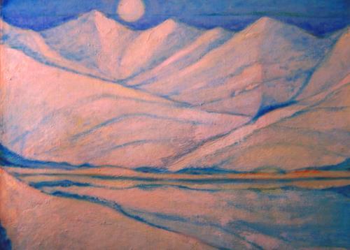 Christophorus Hardenbicker, Schneeberge 1984, Landschaft: Berge, Impressionismus