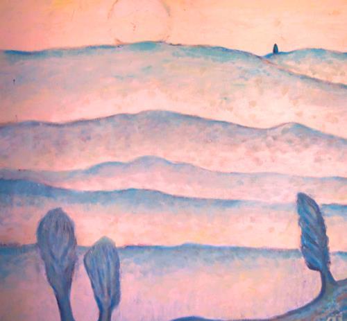 Christophorus Hardenbicker, Mondnacht 1987, Landschaft: Hügel, Impressionismus