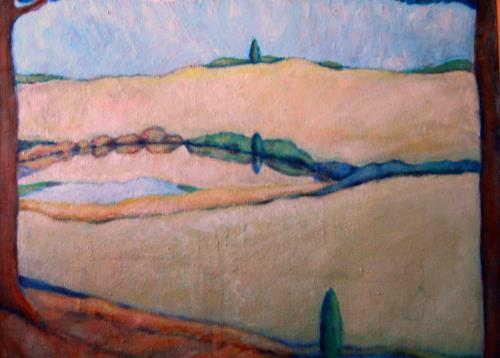Christophorus Hardenbicker, Mühlteich 1981, Landschaft: Hügel, Impressionismus