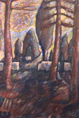 Christophorus Hardenbicker, Spätherbstnacht 1986, Landschaft: Ebene, Impressionismus