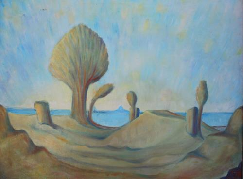 Christophorus Hardenbicker, Wüstenweg 1983, Landschaft: See/Meer, Impressionismus