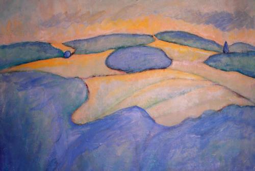 Christophorus Hardenbicker, Blaue Wälder 1983, Landschaft: Hügel, Impressionismus
