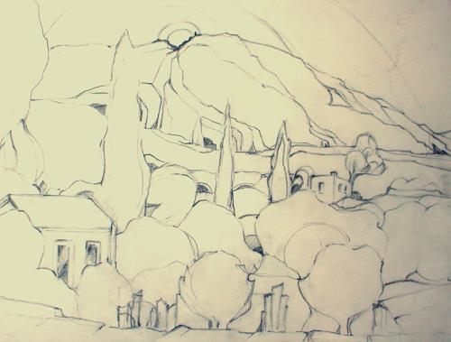 Christophorus Hardenbicker, Atelier -Kerkis,Samos 2013, Landschaft: Berge, Impressionismus