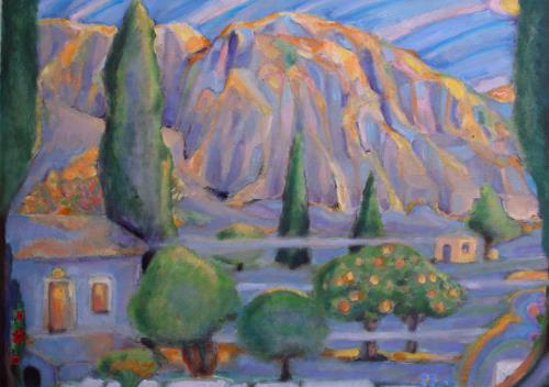 Christophorus Hardenbicker, Samos Atelier 2013, Landschaft: Berge, Impressionismus