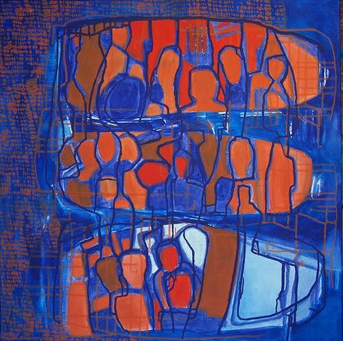 Manuela Rauber, Familiennetz, Abstraktes, Menschen: Gruppe, Abstrakte Kunst