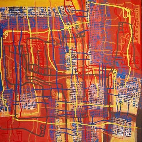 Manuela Rauber, Gesellschaftsnetz, Abstraktes, Menschen: Gruppe, Abstrakte Kunst