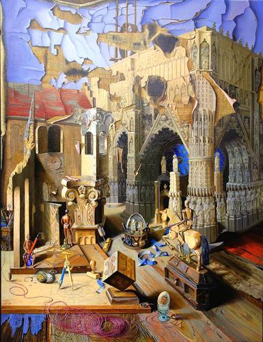 Michael Lassel, Bau und Verfall der Kathedrale, Architektur, Bauten: Kirchen, Realismus, Abstrakter Expressionismus