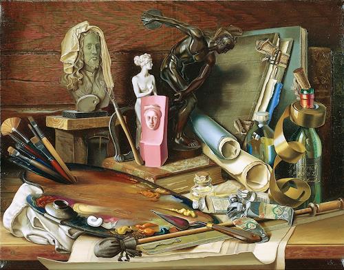 Michael Lassel, Attribute der Kunst, Stilleben, Symbol, Realismus, Expressionismus