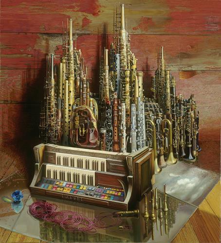 Michael Lassel, Der Dom II, Architektur, Musik: Instrument, Realismus, Abstrakter Expressionismus