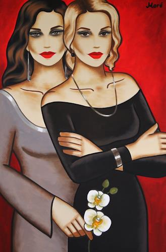 Ekaterina Moré, White Orchid Dream (120x80cm), Menschen: Frau, Menschen: Paare, Art Déco, Expressionismus
