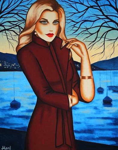 Ekaterina Moré, Blue Dreams, 100x80cm, Menschen: Frau, Landschaft: See/Meer, Art Déco, Expressionismus