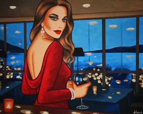 Ekaterina Moré, Wonderful Evening, 100x80, Menschen: Frau, Landschaft: See/Meer, Art Déco, Expressionismus