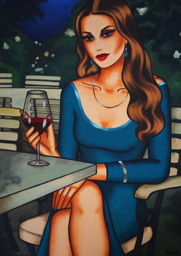 Ekaterina Moré, Blue Evening Mood, Menschen: Frau, Menschen: Porträt, Art Déco, Expressionismus
