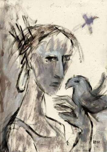 Regina Grahl, Frau und Vogel (Zur Erinnerung an Max Hölzer), Menschen: Paare