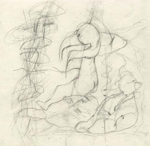 Regina Grahl, Das Kind sitzt auf dem vergrabenen Gesicht. Es weiss noch nicht das, was es ist., Diverse Gefühle, Jagd, Abstrakter Expressionismus