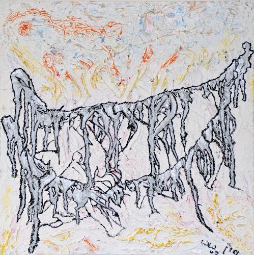waldraut hool-wolf, ghosts bridge*4J*, Abstraktes, Menschen: Gruppe, Abstrakte Kunst