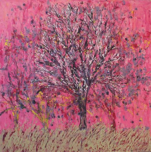 waldraut hool-wolf, rossa cielo, Pflanzen: Bäume, Abstraktes, Moderne