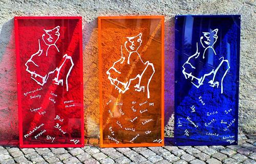 waldraut hool-wolf, Lady in red + Sky + Wold  (1-3), Menschen: Frau, Abstraktes, Gegenwartskunst